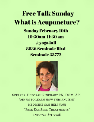 Are you curious about acupuncture & Chinese medicine?  Do you wonder what it treats & if it can help you?  Then join us for a Free talk on Sunday Feburary 10, 2019 from 10:30 am -11:30 am @yoga4all.  Discover how this ancient medicine can benefit you!  Open to the community Location: yoga4all 8836 Seminole, Blvd Seminole, Fl 33772 For more information call 727-871-0928 See you there!